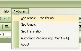 Qur'an in Word XP dan 2003 Menu